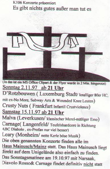 Flyer vom Konzert in Mainz
